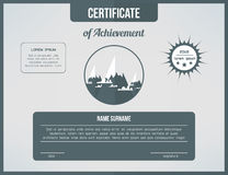 Certificate template for achievement. Gray certificate design with mountains and clouds. Web cetrification page design Royalty Free Stock Photo