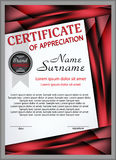 Certificate template of appreciation with decorative elements.  Royalty Free Stock Photos