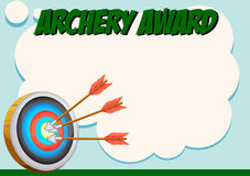 Certificate template for archery award Royalty Free Stock Images