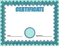 Certificate template. In blue colors Royalty Free Stock Photography