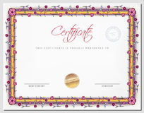 Certificate template with border as flowers Royalty Free Stock Image