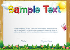 Certificate template with butterfly in the garden. Illustration Royalty Free Stock Images