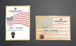 Certificate template. Certification against the background of the American flag. Creative design Royalty Free Stock Photos