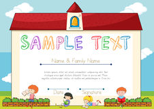Certificate template with children on background royalty free illustration