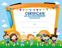 Certificate template with children and school bus Royalty Free Stock Photography