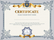 Certificate template. Certificate or coupon template with vintage border Stock Photo
