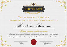 Certificate template design with emblem. Flourish border on white background royalty free illustration