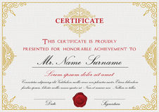 Certificate template design with emblem Stock Photography