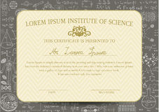 Certificate template is designed for science or education field and decorated with chalkboard background Royalty Free Stock Image