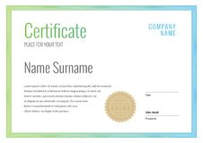 Certificate. Template diploma currency border. Stock Photo