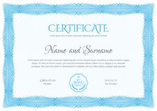 Certificate. Template diploma currency border. Award background Gift voucher. Vector illustration Stock Photo