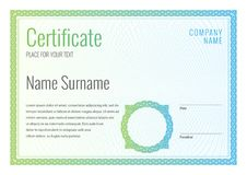 Certificate. Template diploma currency border. Stock Photos