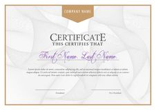 Certificate. Template diploma currency border. Stock Images