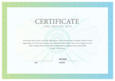 Certificate. Template diploma currency border. Royalty Free Stock Photos