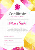 Certificate template. Diploma design with fluid color. Stock Image