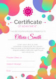 Certificate template. Diploma design with fluid color. Stock Images