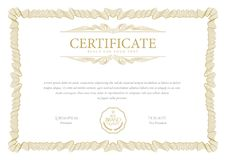 Certificate template. Diploma of modern design or gift certificate. royalty free stock photo