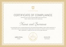 Certificate template. Diploma of modern design or gift certificate. stock illustration
