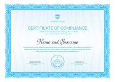 Certificate template. Diploma of modern design or gift certificate. royalty free illustration