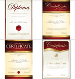 Certificate template. Certificate or diploma retro red template collection Royalty Free Stock Photography