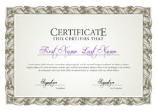 Certificate. Template diplomas, currency. Stock Photography