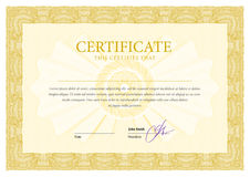 Certificate. Template diplomas, currency. Royalty Free Stock Photography