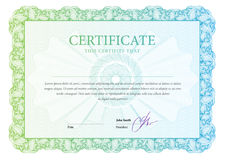 Certificate. Template diplomas, currency. Stock Image