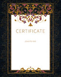 Certificate template in Eastern style. Royalty Free Stock Photo