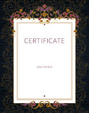 Certificate template in Eastern style. Stock Image