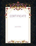 Certificate template in Eastern style. Royalty Free Stock Photos