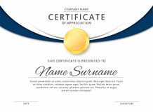 Certificate template in elegant black and blue colors. Certificate of appreciation, award diploma design template. Certificate template in elegant black and blue stock illustration