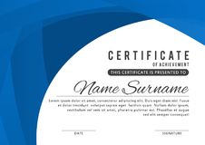 Certificate template in elegant blue color with abstract borders, frames. Certificate of appreciation, award diploma design templa stock illustration
