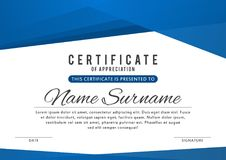 Certificate template in elegant blue color with abstract borders, frames. Certificate of appreciation, award diploma stock illustration