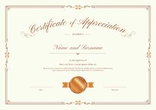 Certificate template with elegant border frame. Luxury certificate template with elegant border frame, Diploma design for graduation or completion Stock Photo
