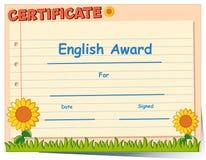 Certificate template for english award stock vector illustration certificate template for english award stock image yelopaper Choice Image