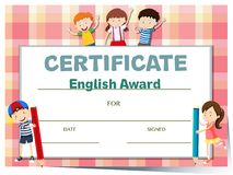 Certificate template for english award with many kids. Illustration Stock Images