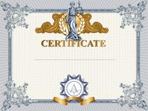 Certificate template with Femida Stock Image
