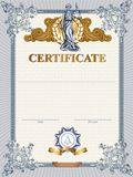 Certificate template with Femida Stock Photos