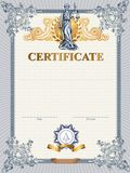 Certificate template with Femida Royalty Free Stock Images