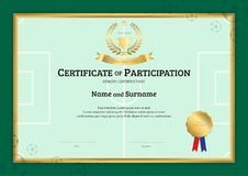 Certificate template in football sport theme with green field bo. Rder frame, Diploma design Stock Photo