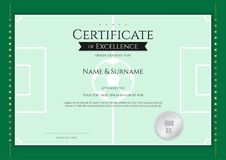 Certificate template in football sport theme with green field bo. Rder frame, Diploma design Royalty Free Stock Photos
