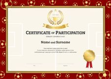 Certificate Template In Football Sport Theme With Soccer Border