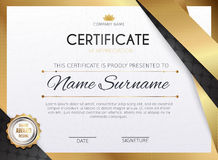 Certificate template with golden decoration element. Design diploma graduation, award. Vector illustration. royalty free illustration