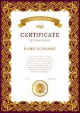 Certificate template with golden ribbon. royalty free illustration