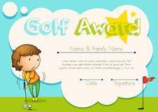 Certificate template for golf award stock vector illustration of certificate template for golf award royalty free stock photos yelopaper Image collections