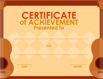 Certificate template with guitar