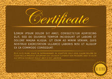 The certificate template, horizontal, on a background of golden triangles Stock Image