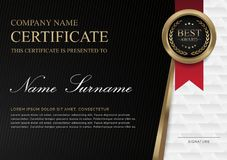 Certificate template horizontal black background and golden shapes and badge. stock illustration