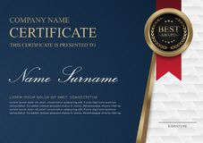Certificate template horizontal blue gold and red ribbon. royalty free illustration