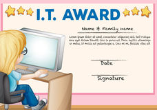Certificate template for information technology Royalty Free Stock Photo